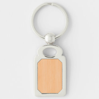 Peach Bamboo Wood Grain Look Silver-Colored Rectangular Metal Keychain