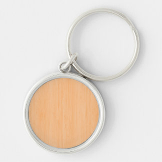 Peach Bamboo Wood Grain Look Silver-Colored Round Keychain
