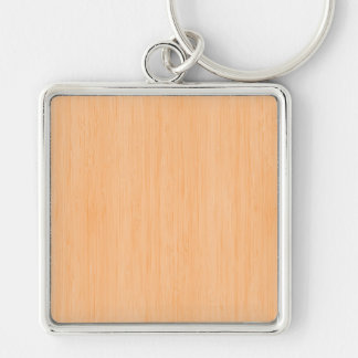 Peach Bamboo Wood Grain Look Silver-Colored Square Keychain