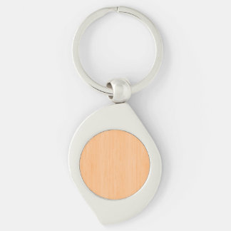Peach Bamboo Wood Grain Look Silver-Colored Swirl Metal Keychain