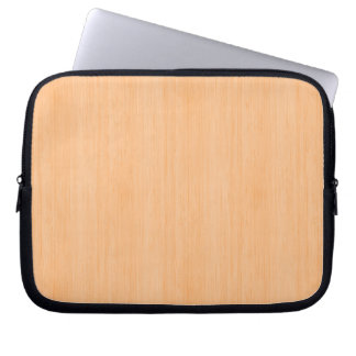 Peach Bamboo Wood Look Laptop Computer Sleeves