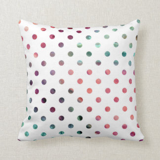 Peach Berry Teal Polka Dots Throw Pillow