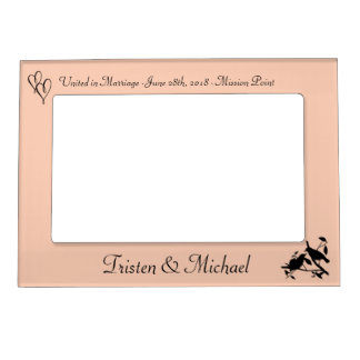 Peach Birds & Hearts Wedding Photo Magnetic Photo Frame