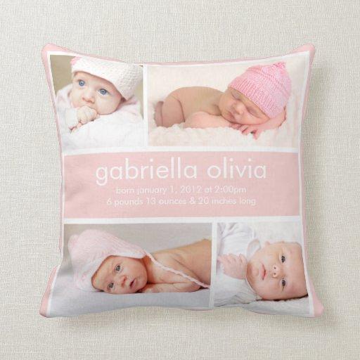 Peach Birth Announcement Throw Pillow Zazzle