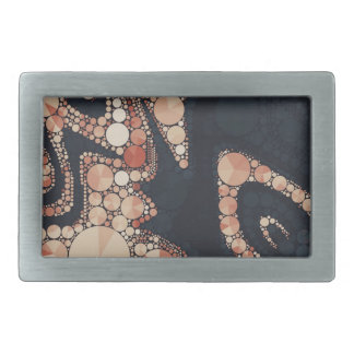 Peach Black Bling Abstract Belt Buckle