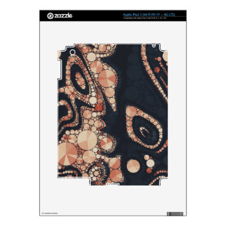 Peach Black Bling Abstract Decals For iPad 3