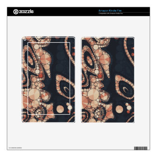 Peach Black Bling Abstract Kindle Fire Decals