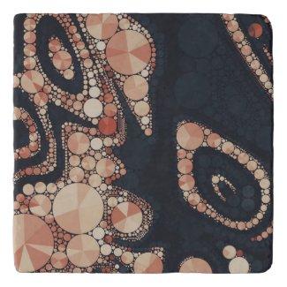 Peach Black Bling Abstract Trivet