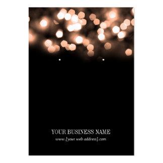 Peach Black Bokeh Lights Custom Earring Card Large Business Card