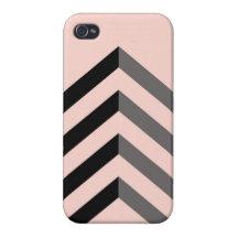 Peach & Black Chevron iPhone 4/4S Case.