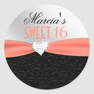Peach Black Floral Damask Diamond Heart Seal Classic Round Sticker