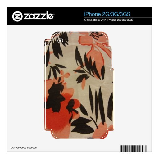 Peach & Black Floral Decal For The iPhone 2G