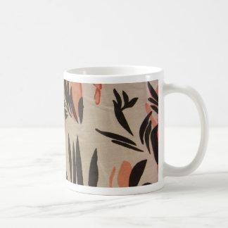 Peach & Black Floral Coffee Mugs