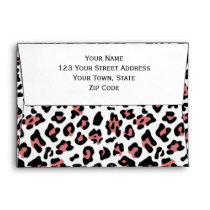 Peach Black Leopard Animal Print Pattern Envelope
