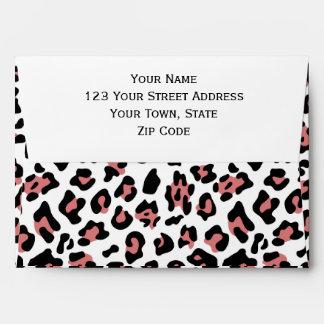 Peach Black Leopard Animal Print Pattern Envelopes