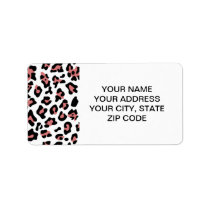 Peach Black Leopard Animal Print Pattern Label