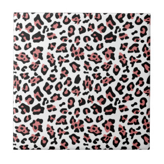Peach Black Leopard Animal Print Pattern Tile
