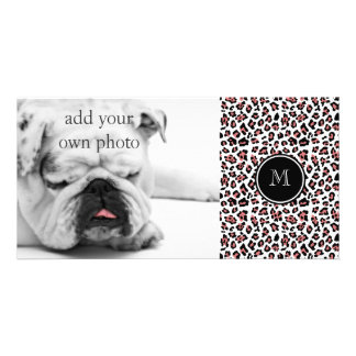 Peach Black Leopard Animal Print with Monogram Card