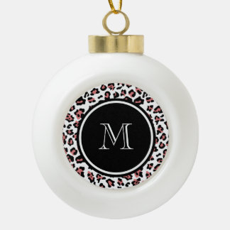 Peach Black Leopard Animal Print with Monogram Ceramic Ball Christmas Ornament