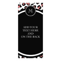 Peach Black Leopard Animal Print with Monogram Rack Card