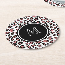 Peach Black Leopard Animal Print with Monogram Round Paper Coaster