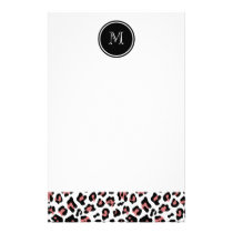 Peach Black Leopard Animal Print with Monogram Stationery