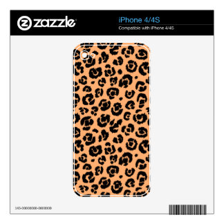 Peach Black Leopard Print Decals For The iPhone 4S