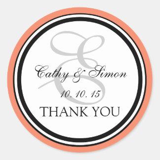 Peach Black Monogram E Wedding Thank You Classic Round Sticker