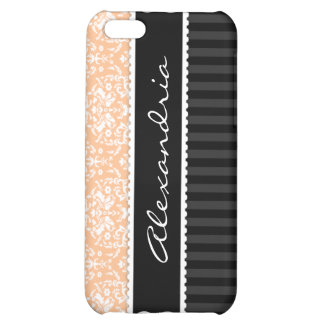 Peach & Black Personalized Damask iPhone 4 Case