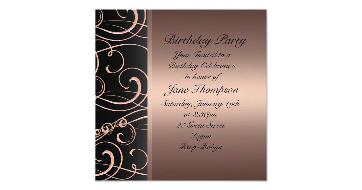 Peach/Black Swirl Side Border Birthday Invite | Zazzle.com