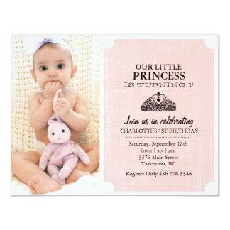 "Peach & Black Tiara Photo First Birthday Invite 4.25"" X 5.5"" Invitation Card"