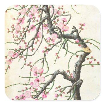 Beach Themed Peach blossom (colour on paper) square sticker