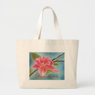 Peach Blossom, Happy Birthday Canvas Bags