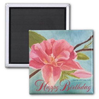 Peach Blossom Happy Birthday Refrigerator Magnet