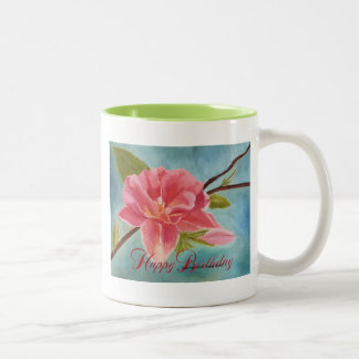 Peach Blossom, Happy Birthday Two-Tone Coffee Mug