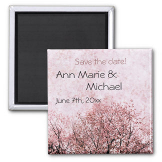 peach blossom save the date magnet
