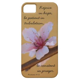 Peach Blossom verse on hope prayer Romans 12 12 iPhone 5/5S Cases