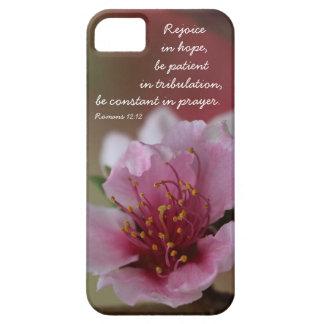 Peach Blossom verse on hope prayer Romans 12 12 iPhone 5/5S Case