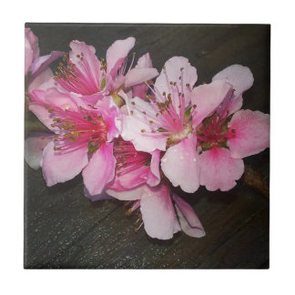 Peach Blossoms Ceramic Tile