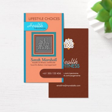 Professional Business Peach & Blue Add Your Photo Business Card