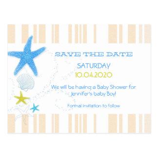 Peach + Blue Beach Baby Boy Shower Save the Date Postcards