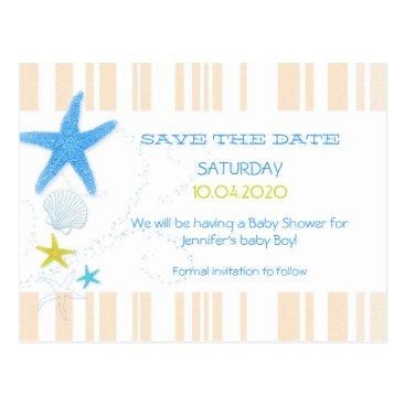 Beach Themed Peach   Blue Beach Baby Boy Shower Save the Date Postcard