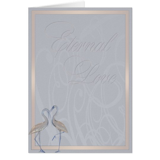 Peach & Blue Cranes Long & Happy Marriage Card