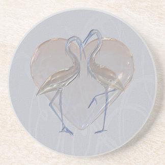 Peach & Blue Cranes Long & Happy Marriage Coasters