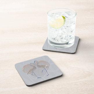 Peach & Blue Cranes Long & Happy Marriage Drink Coaster