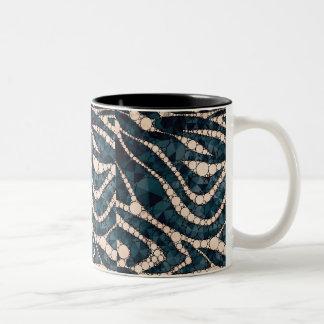 Peach Blue Green Zebra Bling Two-Tone Coffee Mug