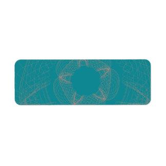 peach blue guilloche pattern return address label