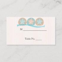 Peach Blue Sand Dollars Beach Wedding Place Cards