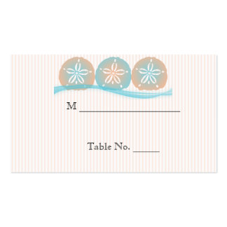 Peach Blue Sand Dollars Beach Wedding Place Cards Double-Sided Standard Business Cards (Pack Of 100)