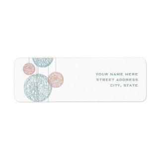 Peach & Blue Twine Globes Address Label